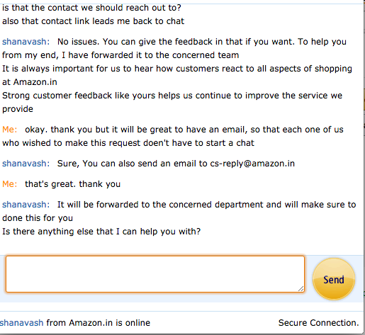 Amazon chat screenshot